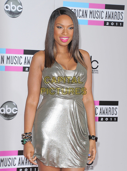 Jennifer Hudson.2011 American Music Awards - Arrivals held at Nokia Theatre LA Live, Los Angeles, California, USA..November 20th, 2011.ama amas ama's half length silk satin silver metallic dress pink lipstick bracelets draped.CAP/RKE/DVS .©DVS/RockinExposures/Capital Pictures.