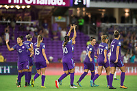Orlando, FL - Saturday September 02, 2017: Orlando Pride celebrate a goal during a regular season National Women's Soccer League (NWSL) match between the Orlando Pride and the Boston Breakers at Orlando City Stadium.