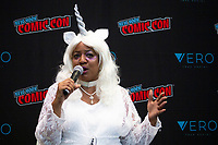 NEW YORK, USA - October 3: Darleena Marie Blander during a Press Conference  on October 3, 2019 in New York, USA.<br /> The 2019 New York Comic-Con at the Jacob K. Javits Convention Center Day 1 with the latest in superhero movies, sci-fi shows, animation, video games, comic book releases available to attendees.<br /> (Photo by Luis Boza/VIEWpress/Corbis via Getty Images)