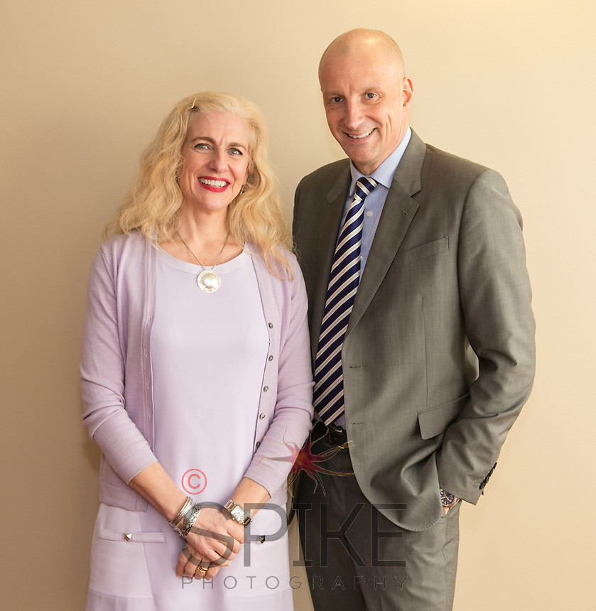 Guest speaker Barbara Cathcart of Nottingham Hospitals Charity and Anthony Clark of club sponsors Riverfall Financial