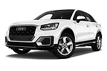 Stock pictures of low aggressive front three quarter view of 2017 Audi Q2 Sport 5 Door SUV