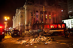 Rioters vandalized the state legislature building and set bon fires in the streets of downtown in Rio de Janeiro, Brazil, Monday, June 17, 2013. Protests in Sao Paulo, Rio de Janeiro and other major Brazilian cities began with a 20-cent hike in public transport fares, have clearly moved beyond that issue to widespread frustration in Brazil about a heavy tax burden, politicians widely viewed as corrupt and woeful public education, health and transport systems and come as the nation hosts the Confederations Cup soccer tournament and prepares for next month's papal visit. <br /> <br /> Monday's demonstration brought a record 100,000 protestors who expressed their frustration at the heavy-handed policing, poor public services and high costs for the World Cup. The majority of Rio's protestors were peaceful, however a large group attacked the state legislature building, setting a car and other objects ablaze. Rio state security officials say at least 20 officers and 9 protesters were injured.