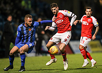Fleetwood Town's Ched Evans competing with Gillingham's Dean Parrett<br /> <br /> Photographer Andrew Kearns/CameraSport<br /> <br /> The EFL Sky Bet League One - Gillingham v Fleetwood Town - Saturday 3rd November 2018 - Priestfield Stadium - Gillingham<br /> <br /> World Copyright © 2018 CameraSport. All rights reserved. 43 Linden Ave. Countesthorpe. Leicester. England. LE8 5PG - Tel: +44 (0) 116 277 4147 - admin@camerasport.com - www.camerasport.com
