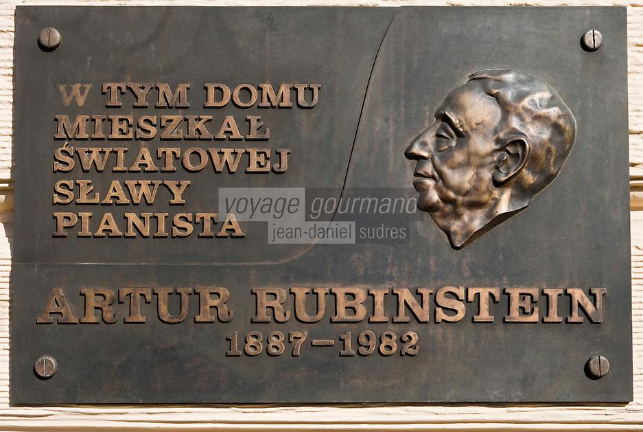 Europe/Pologne/Lodz: Plaque devant la Maison d'arthur Rubinstein dans la la rue Piotrkowska plus longue rue pietonne de Pologne