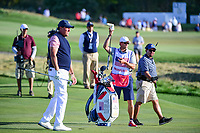 Phil Mickelson (USA) watches his approach shot on 17 during round 2 Four-Ball of the 2017 President's Cup, Liberty National Golf Club, Jersey City, New Jersey, USA. 9/29/2017.<br /> Picture: Golffile | Ken Murray<br /> <br /> All photo usage must carry mandatory copyright credit (&copy; Golffile | Ken Murray)