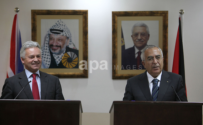 Palestinian Prime Minister Salam Fayad during a joint press conference with UK Minister of State for International Development, Allan Duncan, in the West Bank city of Ramallah on Oct. 27,2010 . Photo by Mustafa Abu Dayeh