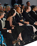 MIAMI, FL - FEBRUARY 13: (L-R) Dr. Stephen Nimer, Oscar De La Renta, and Georgia Nimer watch the Oscar de la Renta fashion show during Designed For A Cure 2014 Benefiting Sylvester Comprehensive Cancer Center at Ice Palace on February 13, 2014 in Miami, Florida. (Photo by Johnny Louis/jlnphotography.com)