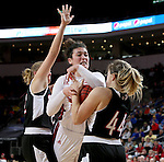 SIOUX FALLS, SD: MARCH 5: Kate Liveringhouse #34 from the University of South Dakota gets tied up for a jump ball with Michaela Dapprich #44 from Nebraska Omaha during the Summit League Basketball Championship on March 5, 2017 at the Denny Sanford Premier Center in Sioux Falls, SD. (Photo by Dave Eggen/Inertia)
