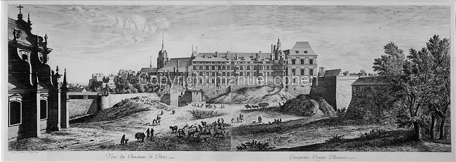 View of the Chateau Royal de Blois, engraving,  1672, by Israel Filue, in the Chateau Royal de Blois, built 13th - 17th century in Blois in the Loire Valley, Loir-et-Cher, Centre, France. The chateau has 564 rooms and 75 staircases and is listed as a historic monument and UNESCO World Heritage Site. Picture by Manuel Cohen