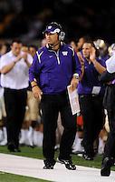 Sept. 5, 2009; Seattle, WA, USA; Washington Huskies head coach Steve Sarkisian against the LSU Tigers at Husky Stadium. LSU defeated Washington 31-23. Mandatory Credit: Mark J. Rebilas-