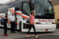 Portland Thorns forward Alex Morgan (13) exits the team bus prior to playing the Western New York Flash during the National Women's Soccer League (NWSL) finals at Sahlen's Stadium in Rochester, NY, on August 31, 2013.