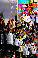 Fiji celebrates winning the cup final on day two of the 2018 HSBC World Sevens Series Hamilton at FMG Stadium in Hamilton, New Zealand on Saturday, 3 February 2018. Photo: Dave Lintott / lintottphoto.co.nz