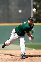 May 20, 2007: Hector Ambriz of the Visalia Oaks pitches against the Rancho Cucamonga Quakes at The Epicenter in Rancho Cucamonga,CA.  Photo by Larry Goren/Four Seam Images