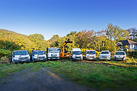 Pictured: The fleet of vehicles owned by the company. Wednesday 11 October 2018 <br /> Re: Clydach Construction in Clydach, south Wales, UK.