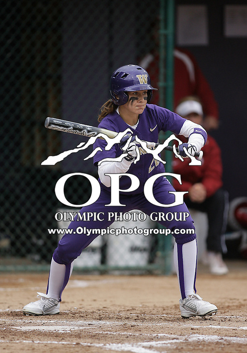 28 May 2010:  Washington Huskies center fielder Alyson McWherter sets up to bunt against Oklahoma.  Washington defeated Oklahoma 3-0 in the second game of the NCAA Super Regional at Husky Softball Stadium in Seattle, WA.