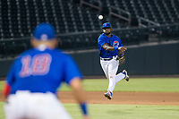 AZL Cubs shortstop Delvin Zinn (21) makes a throw to first base against the AZL Giants on September 6, 2017 at Sloan Park in Mesa, Arizona. AZL Giants defeated the AZL Cubs 6-5 to even up the Arizona League Championship Series at one game a piece. (Zachary Lucy/Four Seam Images)