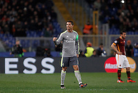 Calcio, andata degli ottavi di finale di Champions League: Roma vs Real Madrid. Roma, stadio Olimpico, 17 febbraio 2016.<br /> Real Madrid's Cristiano Ronaldo celebrates after scoring during the first leg round of 16 Champions League football match between Roma and Real Madrid, at Rome's Olympic stadium, 17 February 2016.<br /> UPDATE IMAGES PRESS/Isabella Bonotto