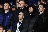 Swansea City fans in action during the Sky Bet Championship match between Huddersfield Town and Swansea City at The John Smith's Stadium in Huddersfield, England, UK. Tuesday 26 November 2019