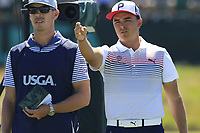 Rickie Fowler (USA) on the 17th tee during Thursday's Round 1 of the 118th U.S. Open Championship 2018, held at Shinnecock Hills Club, Southampton, New Jersey, USA. 14th June 2018.<br /> Picture: Eoin Clarke | Golffile<br /> <br /> <br /> All photos usage must carry mandatory copyright credit (&copy; Golffile | Eoin Clarke)