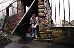 Danielle, aged 14 sneaking out of an abandoned factory in Burnley. She stays in dangerous places and buildings, and hangs out with street gangs and drug dealers.<br />