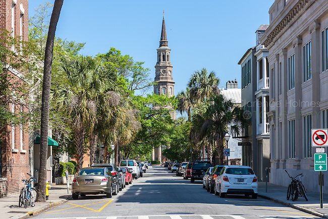 A view down Church Street to St. Phillip's Episcopal Church in Charleston, South Carolina.