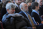 The parents of Rahm Emanuel, Martha and Ben Emanuel, listen as Chicago Mayor Rahm Emanuel addresses the public in a speech at Rahm Emanuel's inauguration ceremony as Chicago mayor in Millennium Park in Chicago, Illinois on May 16, 2011.