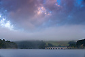 24/08/14 <br /> <br /> After overnight temperatures drop to an unseasonable three degrees, low cloud shrouds the hillside as steam rises from Ladybower Reservoir in the Derbyshire Peak District.<br /> All Rights Reserved: F Stop Press Ltd. +44(0)1335 300098   www.fstoppress.com.