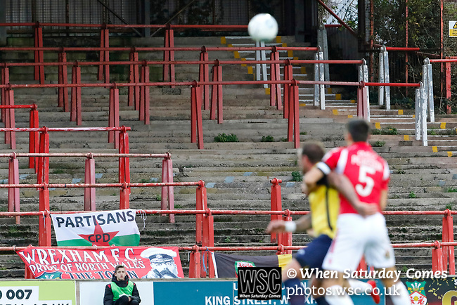 Wrexham 2 Ebbsfleet United 0, 18/11/2017. The Racecourse Ground, National League. Players contest a loose ball in front of the Kop end of the Racecourse Ground. Photo by Paul Thompson.