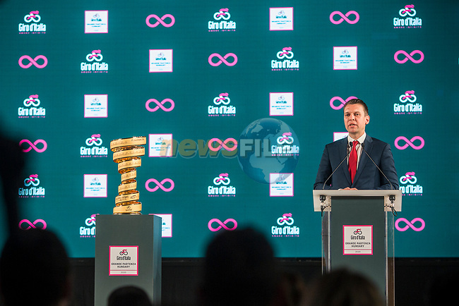 Hungary will host the Grande Partenza of Giro d'Italia 2020. This afternoon in Budapest at the Italian Cultural Institute the Grande Partenza was officially announced in the presence of the Government Commissary for Active Hungary, Máriusz Révész; the Deputy Mayor of Budapest, Alexandra Szalay-Bobrovniczky; the Minister of Sport, Tünde Szabó; the Minister of Foreign Affairs, Tamás Menczer; the RCS Sport CEO,Paolo Bellino and the Giro d'Italia Director, Mauro Vegni. 15th April 2019.<br /> Picture: Lounge Design | Cyclefile<br /> <br /> All photos usage must carry mandatory copyright credit (© Cyclefile | Lounge Design)