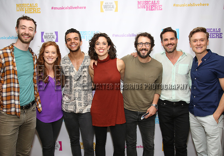 "Alex Gibson, Kennedy Caughell, Blaine Alden Krauss, Mary Page Nance, Josh Groban, Nicholas Belton and Josh Canfield backstage at the New York Musical Festival production of  ""Alive! The Zombie Musical"" at the Alice Griffin Jewel Box Theatre on July 29, 2019 in New York City."