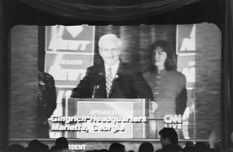 "Speaker of the House Rep. Newton Leroy ""Newt"" Gingrich, R-Ga., House of Representatives Member appears on screen at Renaissance Hotel on election night. November 5, 1996 (Photo by CQ Roll Call)"