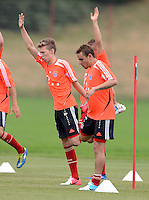 FUSSBALL  1. BUNDESLIGA   SAISON  2012/2013  03.07.2012 Trainingsauftakt beim FC Bayern Muenchen  Mitchell Weiser, Rafinha (v. li.)