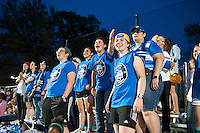 "Kansas City, Mo. - Saturday April 23, 2016: Members of the FC Kansas City ""Blue Crew"" cheer from the stands as FC Kansas City hosts Portland Thorns FC at Swope Soccer Village. The match ended in a 1-1 draw."