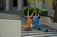 Body Politics : Pop-up Performance #1<br /> The Heidi Duckler Dance Theatre and KOXY partner for a lunch-time dance workshop and performance on the quad, April 3, 2018.<br /> The Heidi Duckler Dance Theatre interacts with Oxy's 2017/18 CORE theme (Eco)Systems of Power every Tuesday in April. Two teaching and performing artists will respond to select found objects in a tactical laboratory on the quad, involving the body, politics and the environment. These short presentations are not finished works, they are evolving collective experiments, meant to spark conversations and inspire innovation.<br /> (Photo by Marc Campos, Occidental College Photographer)