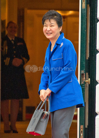 Park Geun hye, President of the Republic of Korea arrives for the working dinner for the heads of delegations at the Nuclear Security Summit on the South Lawn of the White House in Washington, DC on Thursday, March 31, 2016.<br /> Credit: Ron Sachs / Pool via CNP/MediaPunch