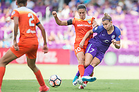 Orlando, FL - Saturday June 24, 2017: Carli Lloyd, Stephanie Catley during a regular season National Women's Soccer League (NWSL) match between the Orlando Pride and the Houston Dash at Orlando City Stadium.