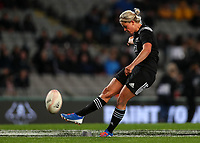Chelsea Alley kicks for goal during the International Women's Rugby match between the New Zealand All Blacks and Australia Wallabies at Eden Park in Auckland, New Zealand on Saturday, 17 August 2019. Photo: Simon Watts / lintottphoto.co.nz