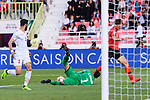 Goalkeeper Sayed Shubbar Alawi of Bahrain (C) reaches for the ball after an attempt at goal by Hwang Uijo of South Korea (L) during the AFC Asian Cup UAE 2019 Round of 16 match between South Korea (KOR) and Bahrain (BHR) at Rashid Stadium on 22 January 2019 in Dubai, United Arab Emirates. Photo by Marcio Rodrigo Machado / Power Sport Images