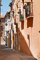 Narrow village street. Bouzigues Languedoc. France. Europe.