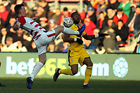 Paul Downing of Doncaster Rovers and Jordan Ayew of Crystal Palace during Doncaster Rovers vs Crystal Palace, Emirates FA Cup Football at the Keepmoat Stadium on 17th February 2019