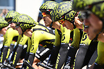 Mitchelton-Scott on the start ramp during Stage 3 of the 2018 Tour de France a Team Time Trial running 35.5km from Cholet to Cholet (35,5km, France. 9th July 2018. <br /> Picture: ASO/Pauline Ballet | Cyclefile<br /> All photos usage must carry mandatory copyright credit (&copy; Cyclefile | ASO/Pauline Ballet)