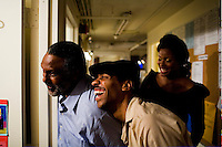 NEW YORK - AUGUST 8: Signature Theater Comapny cast members of August Wilson's play, Seven Guitars, share a moment backstage during a performance on August 8, 2006, at The Peter Norton Space in New York City. (Photo by Landon Nordeman for The New Yorker)