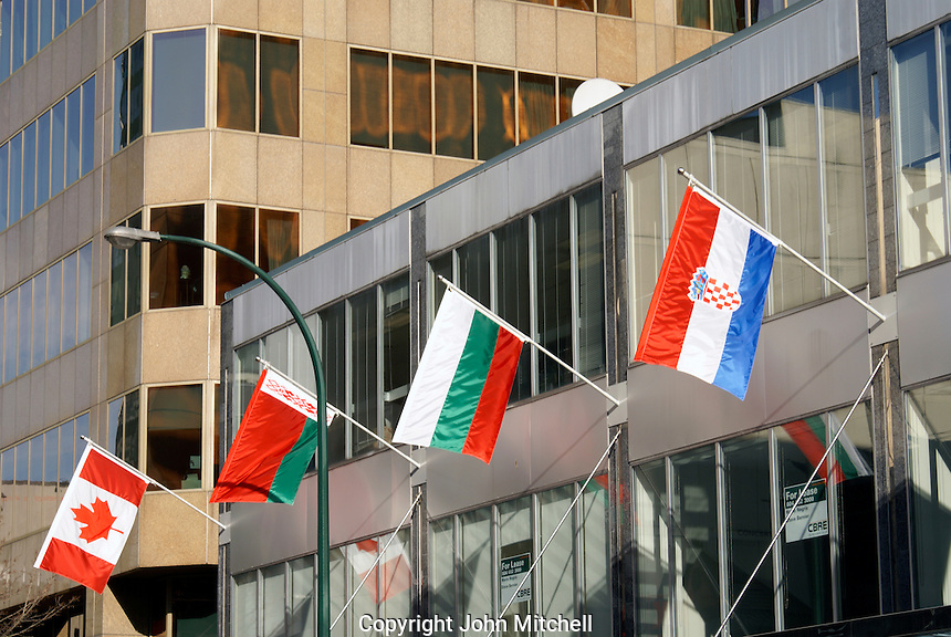 Flags from various nations outside a building during the 2010 Winter Games, Vancouver, British Columbia, Canada