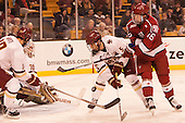 Colin White (BC - 18), Thatcher Demko (BC - 30), Casey Fitzgerald (BC - 5), Ryan Donato (Harvard - 16) - The Boston College Eagles defeated the Harvard University Crimson 3-2 in the opening round of the Beanpot on Monday, February 1, 2016, at TD Garden in Boston, Massachusetts.