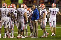 November 29, 2008:   Florida head coach, Urban Meyer, meets with his defensive unit during non-conference game action between the University of Florida Gators  and the Florida State Seminoles at Doak Campbell Stadium in Tallahassee, Florida.   Florida defeated Florida State 45-15.