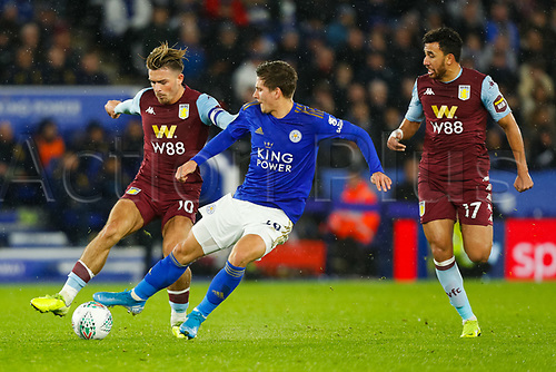 8th January 2020; King Power Stadium, Leicester, Midlands, England; English Football League Cup Football, Carabao Cup, Leicester City versus Aston Villa; Jack Grealish of Aston Villa holds off Dennis Praet of Leicester City - Strictly Editorial Use Only. No use with unauthorized audio, video, data, fixture lists, club/league logos or 'live' services. Online in-match use limited to 120 images, no video emulation. No use in betting, games or single club/league/player publications