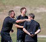 18.06.18  Steven Gerrard and Tom Culshaw laughing with Jimmy Bell at training