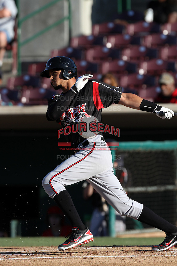 Donovan Tate #2 of the Lake Elsinore Storm bats against the Inland Empire 66'ers at San Manuel Stadium on July 15, 2012 in San Bernardino, California. Inland Empire defeated Lake Elsinore 4-3. (Larry Goren/Four Seam Images)
