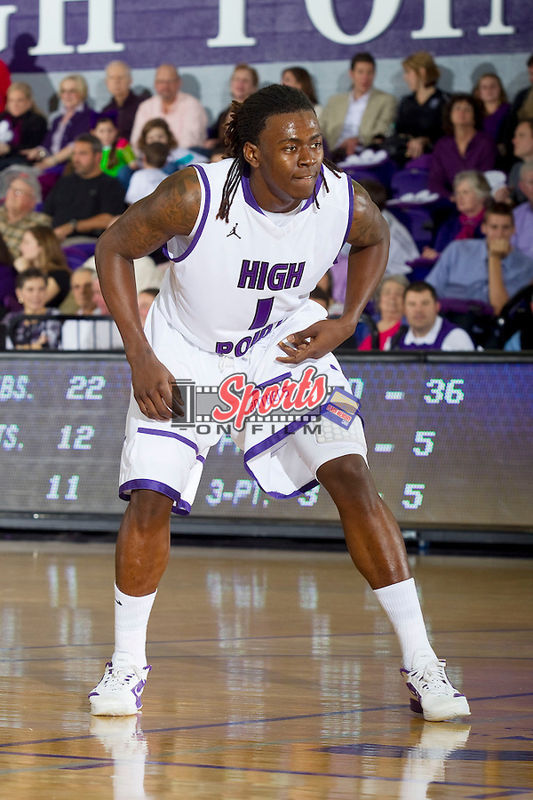 Dejuan McGaughy (1) of the High Point Panthers during second half action against the Gardner-Webb Runnin' Bulldogs at Millis Athletic Center on January 12, 2013 in High Point, North Carolina.  The Panthers defeated the Runnin' Bulldogs 70-64.   (Brian Westerholt/Sports On Film)