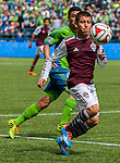 Colorado Rapids Nathan Sturgis controls the balls during an MLS match against Seattle Sounders on April 26, 2014 in Seattle, Washington.  The Seattle Sounders beat the Colorado Rapids 4-1.  Jim Bryant Photo. ©2014. All Rights Reserved.